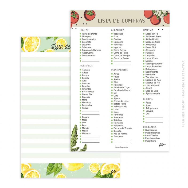 Bloco Lista de Compras – 2 em 1 Lemonade/Tomatoes